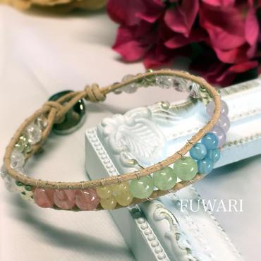 天然石の虹色ラップブレス(17cm)