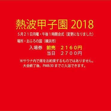 【一般前売】熱波甲子園2018入場券(21日AM11まで販売)【チケット発送はありません】