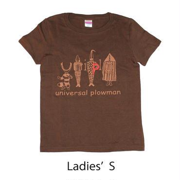 ユニクロっぽいヤーガン族Tシャツ ダークブラウン レディース