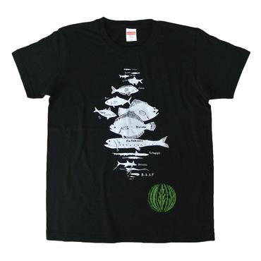 水深別お魚Tシャツ ブラック メンズ