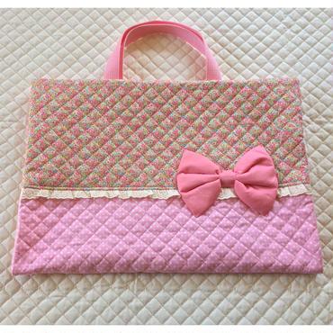 大 ブックカバー 小花 ピンク 1