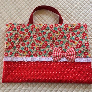 大 ブックカバー 赤 小花