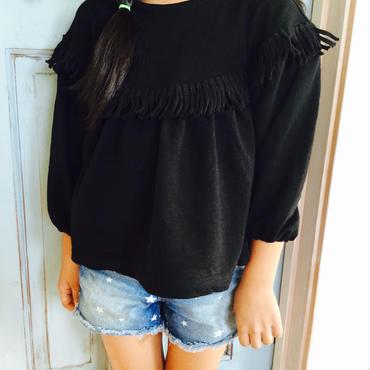フリンジシャツ BK
