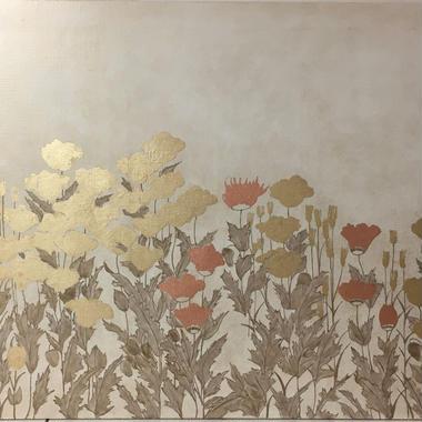 麦 •芥子図屏風