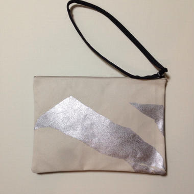Clutch bag silver on white 2