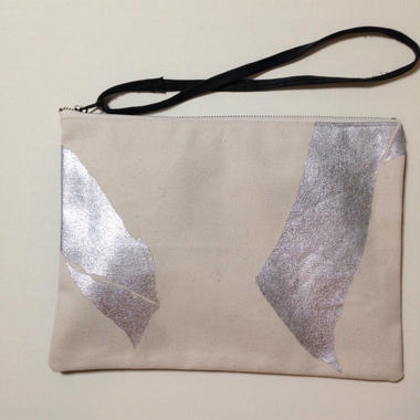 Clutch bag  silver on white