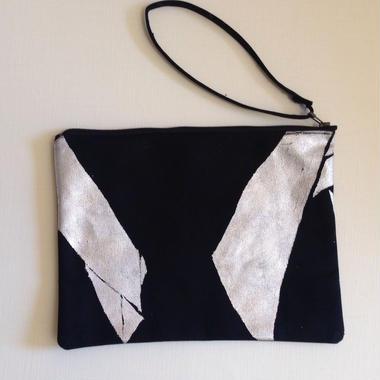 Clutch bag black-silver1