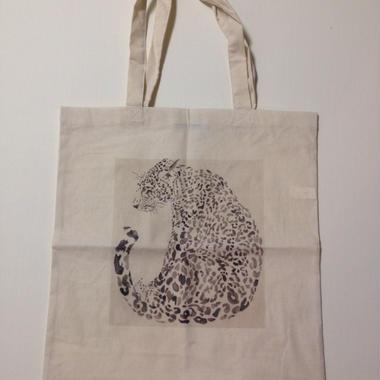 Tote bag panther white