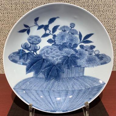 藍鍋島花籠文皿(江戸後期)/ 190128-2