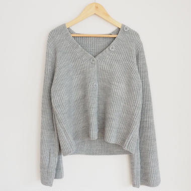 soft-feel knit cardigan with button GRAY