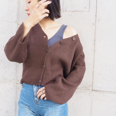 soft-feel knit cardigan with button BROWN