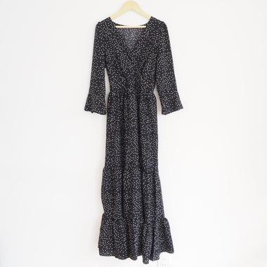 dot print long dress