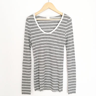 striped long sleeve top GRAY