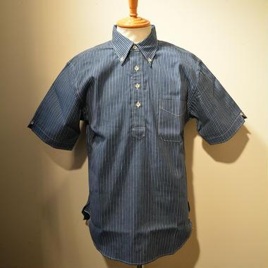 boncoura 半袖プルオーバーBDシャツ(インディゴピンストライプ・ベタシャン)