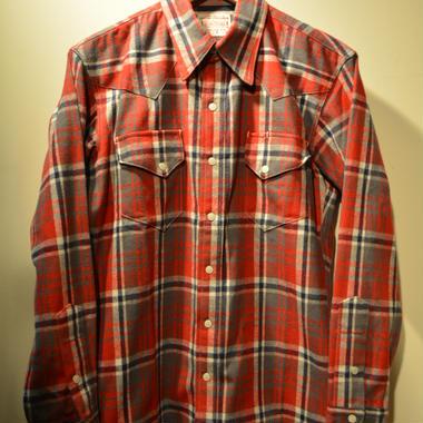 boncoura 赤チェックウェスタンシャツ size36(S)
