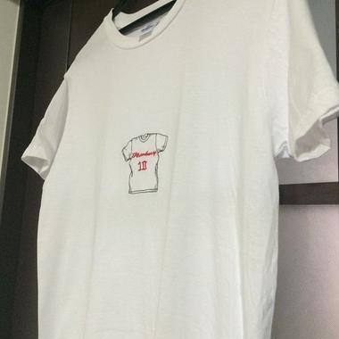 あなたのオリジナルロゴを刺しゅうにしたTシャツ(白)
