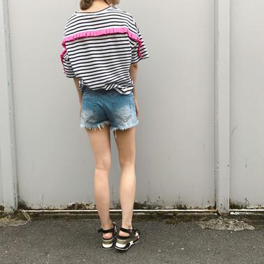 バックフリルボーダーTシャツ/3colors