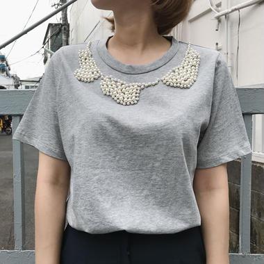 ビジューTシャツ/2colors