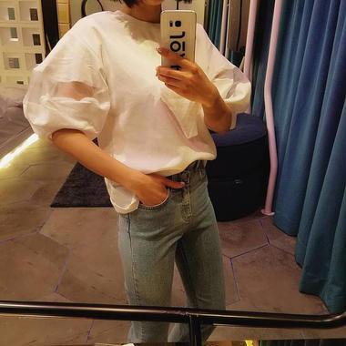 オーガンジーボリュームスリーブTシャツ