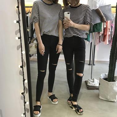 2WAYボーダーTシャツ/2colors