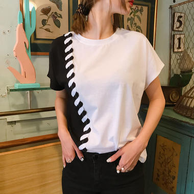 モノトーンユニークTシャツ/ホワイト
