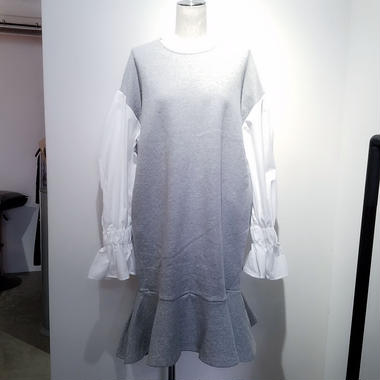 sweat×shirt frill one piece /gray
