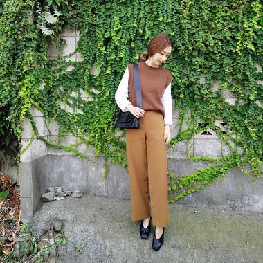 over size side slit knit vest