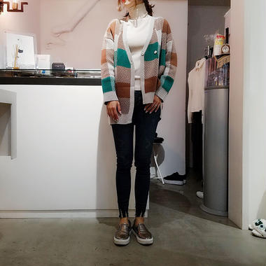 asymmetry block check  cardigan