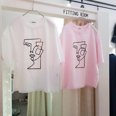 ユニークフェイスプリントTシャツ
