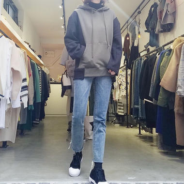 raised back bicolor sweat /khaki