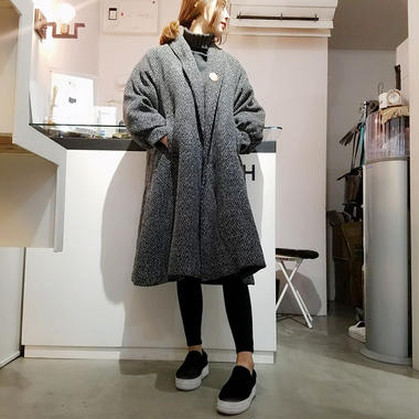 wool blend drop shoulder A line coat