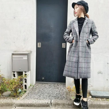 herringbone check color double coat