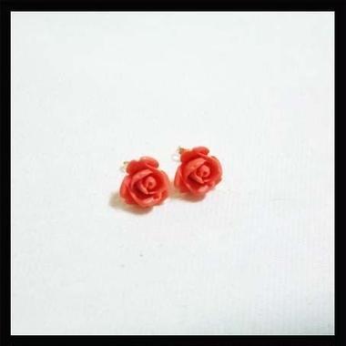 LP004■コーラル薔薇ピアス