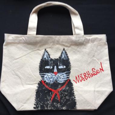 世界に一つ手書きトートバッグ黒猫マッドジョンソン直筆手書き