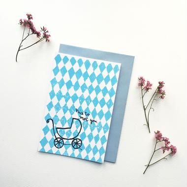 "Postcard ""Nice to meet you"" / Blue"