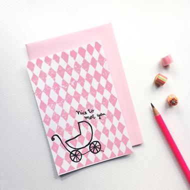 """Postcard """"Nice to meet you"""" / Pink"""