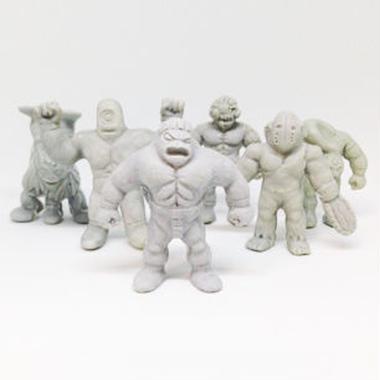 第1弾 妖怪レスラー・全6種(灰)消しゴム人形