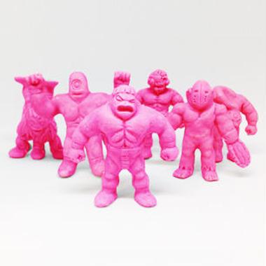 第1弾 妖怪レスラー・全6種(赤)消しゴム人形