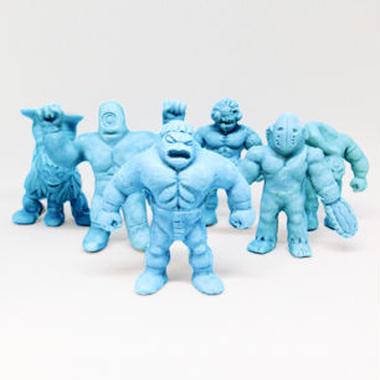 第1弾 妖怪レスラー・全6種(青)消しゴム人形