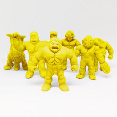 第1弾 妖怪レスラー・全6種(黄)消しゴム人形
