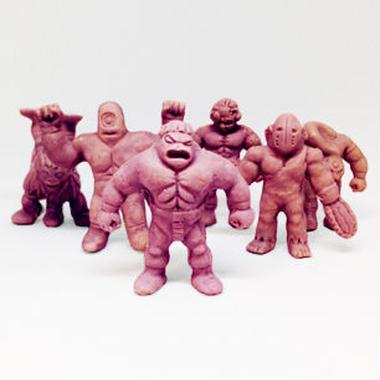 第1弾 妖怪レスラー・全6種(茶)消しゴム人形