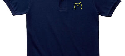 【1次先行販売】ヴェエ猫 刺繍ポロシャツ【ネイビー】