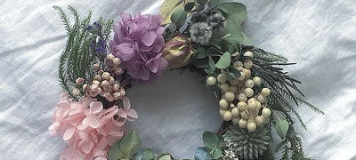sweet pink & green  mini wreathe