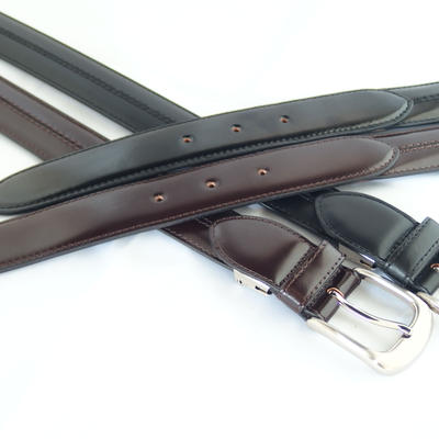 (New)数量限定!超希少 q-HORSE コードバン紳士ベルト 幅30mm ロングステッチタイプ120cm