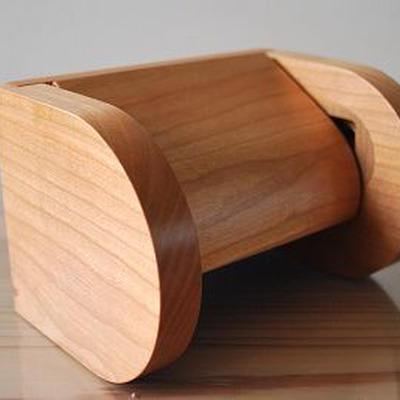 ワンタッチ交換 木製トイレットペーパーホルダー【ブラックチェリー】