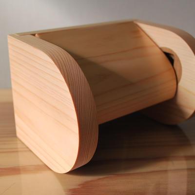 シングル木製トイレットペーパーホルダー 【ヒノキ】