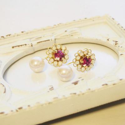 Flower bijou×Perl pierce(pink)