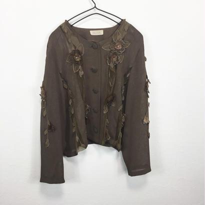 brown flower cardigan