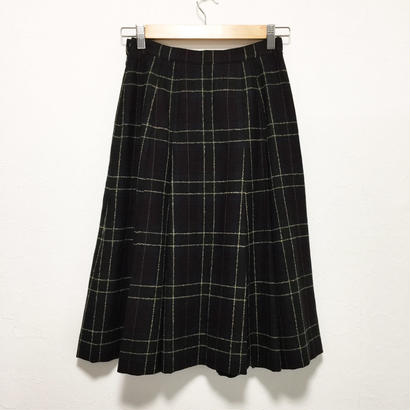 mix autumn color check wool pleats skirt