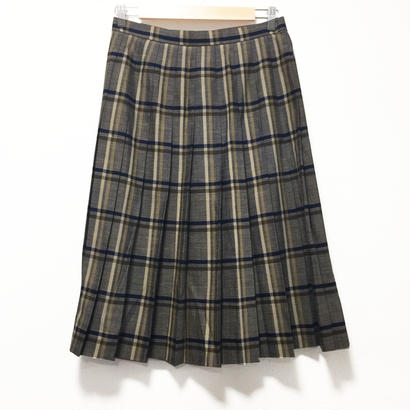 brown check pleats long skirt
